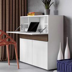 Bureau/meuble de rangement Fox - blanc/noyer