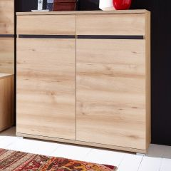 Armoire à chaussures Lissandro 96cm avec 2 portes & 2 tiroirs - hêtre