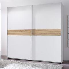 Armoire à vêtements Wouter 215cm avec 2 portes - blanc/chêne