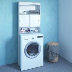 Meuble pour machine à laver Surf - blanc/taupe