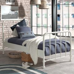 Lit simple Bronxx métal 90x200 - blanc mat