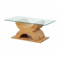 Table basse Xhadas 110cm - verre/chêne