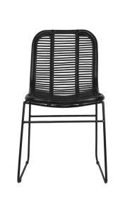 Chaise de salle à manger - noire - rotin