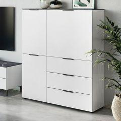 Bahut Karsten haut 109cm - blanc/marbre