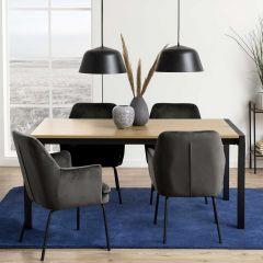 Table à manger extensible Biago 170/250x90 - chêne/noir mat