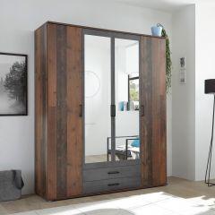 Armoire à vêtements Ellis 160cm à 4 portes & 2 tiroirs - vieux style/béton