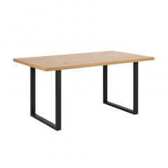 Table à manger Wallace 160x90 avec pieds droits - chêne/noir