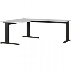 Bureau d'angle Aggo 160x193 réglable en hauteur - gris clair/noir