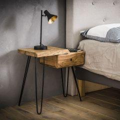 Table de chevet Remi Gauche industriel - bois d'acacia