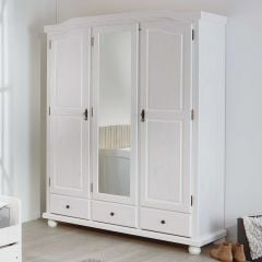 Garde-robe Karel 150cm avec 3 portes & miroir - blanc