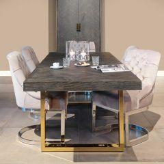 Table à manger extensible Bony 195/265x90cm - noir/or