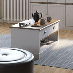 Table basse Silia 100x53 à 2 tiroirs - blanc/naturel