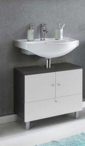 Meuble sous lavabo Benja 3 portes - blanc/gris graphite