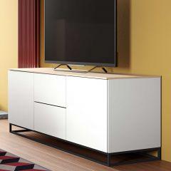 Bahut Join 180cm avec piètement en métal, 2 portes et 2 tiroirs - blanc mat/chêne