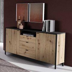 Bahut In-Loft 2 portes & 3 tiroirs industriel - chêne/noir