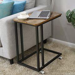 Table d'appoint pour ordinateur portable Dante avec roulettes - brun/noir