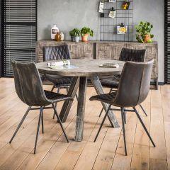 Table à manger Emma ø120cm industriel - bois de mangue