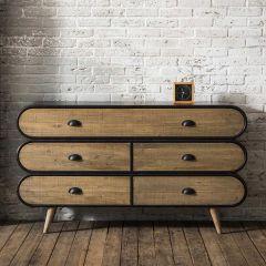 Bahut Trixie 140cm 5 tiroirs bois & métal - brun/noir