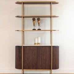 Bahut Barkley 120cm 2 portes et 3 étagères - brun/or