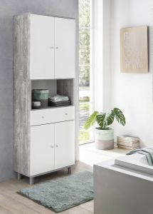 Armoire salle de bains Andrew 1 tiroir & 4 portes - blanc/béton