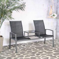 Chaise de jardin double Sean - noir