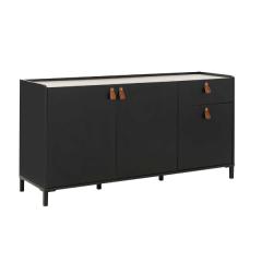 Bahut Arnhem 3 portes 1 tiroir - noir/châtaigne