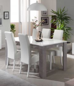 Table à manger Greta 160 cm - béton/blanc
