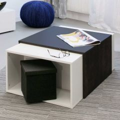 Table basse Domino - blanc/noir