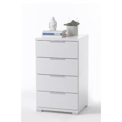 Table de chevet Nacho 46cm avec 4 tiroirs - blanc