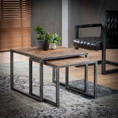 Lot de 2 tables basses Anais 60x60 industriel