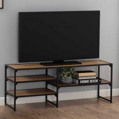 Meuble TV Dover 120cm 3 tablettes industriel - noir/chêne sauvage