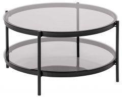 Table basse Paul avec plateau en verre ø75 - noir
