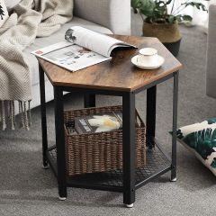 Table d'appoint hexagonale Manuel - brun/noir