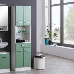 Colonne Ricca 50cm 4 portes & 1 tiroir - blanc/vert