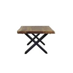 Table basse SoHo - 60x60 cm - acacia / fer - revêtement époxy noir