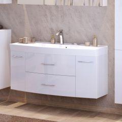 Meuble vasque Florent courbé 120cm 2 tiroirs & 2 portes - blanc
