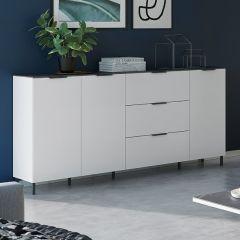 Bahut Karsten bas avec 3 portes & 3 tiroirs 192cm - blanc/marbre