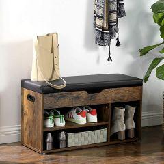 Banc à chaussures avec assise capitonnée Fiora - brun rustique