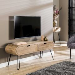 Meuble tv Barros 135cm 2 tiroirs - manguier/sable