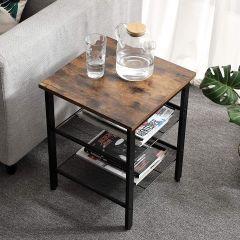 Set de 2 tables d'appoint Brad 40x40 2 tablettes - brun rustique/noir