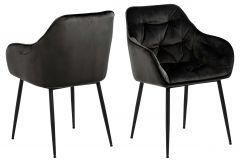 Set de 2 chaises avec accoudoirs Lynn - gris brun/noir