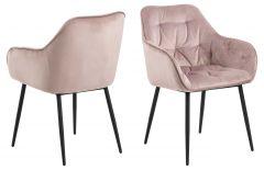 Set de 2 chaises avec accoudoirs Lynn - vieux rose/noir