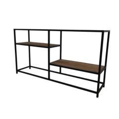 Table d'appoint Junction 150x35cm 2 étagères - noir/brun