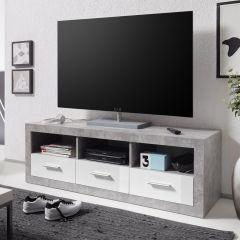 Meuble tv Stanno 147 cm - béton/blanc