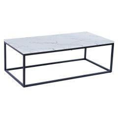 Table basse Antonio 60x120 industriel - marbre clair