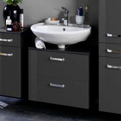 Meuble sous lavabo Bobbi 60cm 1 porte et 1 tiroir - graphite/gris brillant