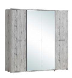 Armoire Forever 220cm avec 4 portes & miroir - chêne gris