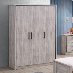 Garde-robe Sela 150cm avec 3 portes - chêne gris