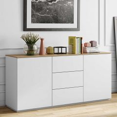Bahut Join 180cm à 2 portes et 3 tiroirs - blanc mat/chêne