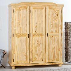 Garde-robe Bastian 150cm avec 3 portes - vernis naturel